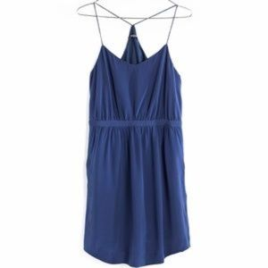 {Madewell} Navy Silk Stairview Cami Dress NWT